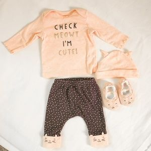 """Carters Baby Girl """"Check Meowt"""" Cat Outfit 3 Month"""